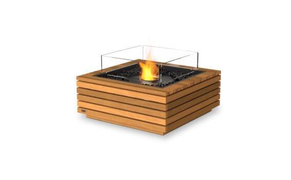 Base 30 Fire Pit - Ethanol - Black / Teak / Optional Fire Screen by EcoSmart Fire