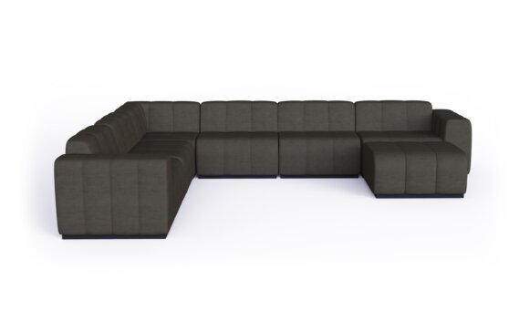 Connect Modular 7 U-Sofa Chaise Sectional Range - Flanelle by Blinde Design