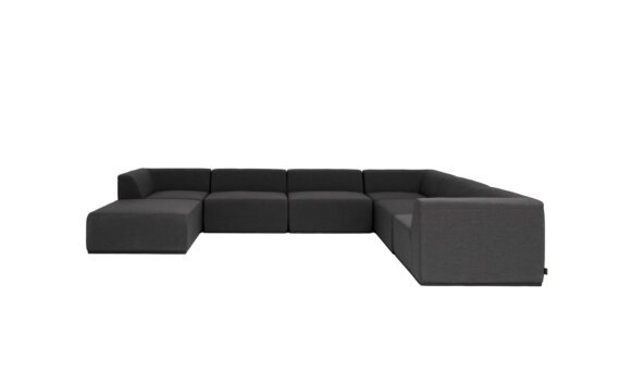 Relax Modular 7 U-Sofa Chaise Sectional Furniture - Sooty by Blinde Design
