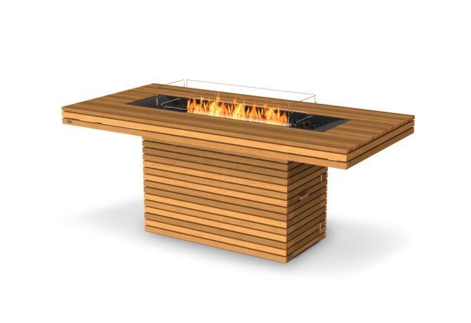 Gin 90 (Bar) Fire Pit - Ethanol / Teak / Optional Fire Screen by EcoSmart Fire
