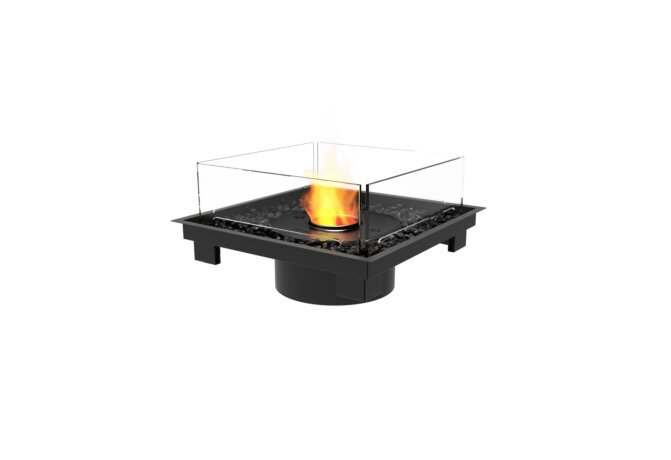 Square 22 Fireplace Insert - Ethanol - Black / Black / Indoor Safety Tray by EcoSmart Fire