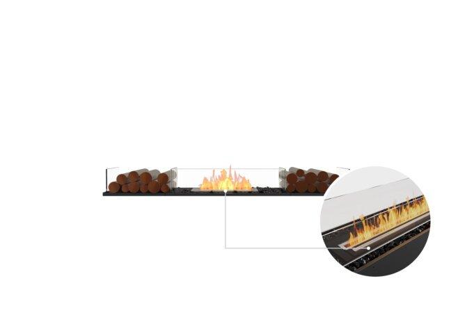 Flex 68BN.BX2 Bench - Ethanol - Black / Black / Installed View by EcoSmart Fire