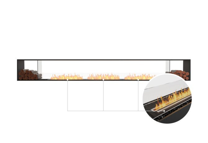 Flex 158DB.BX2 Double Sided - Ethanol - Black / Black / Installed View by EcoSmart Fire
